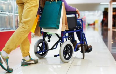 Shopping with girlfriend in wheelchair