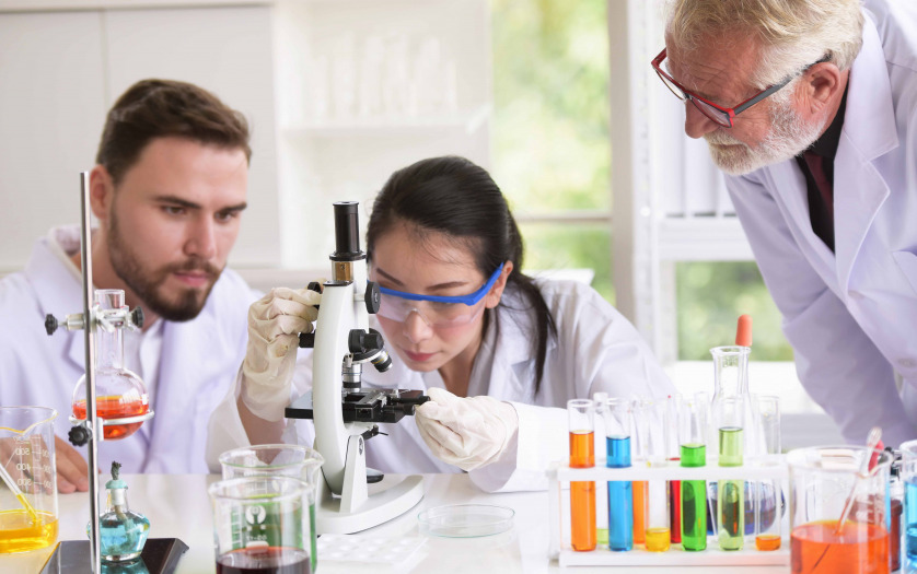 researchers working in the lab