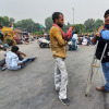 Persons with disabilities protest against Railway