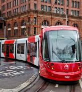 A tram on the light rail network nears Central Station, Sydney.