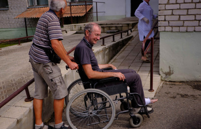 A man in a wheelchair at the emergency room of the city hospital.