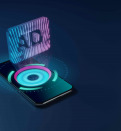 3D rendering smartphone with display emitting neon violet pink blue holographic symbol of audio description icon icon on dark background with blurred reflection