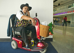 Traveler with disabilities at an international airport