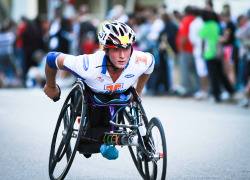 Chicago Marathon athlete during the race. The name of this participant is Tatyana McFadden from Clarksville, MD