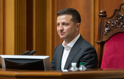President of Ukraine Volodymyr Zelensky during the session of the Verkhovna Rada of Ukraine of the ninth convocation