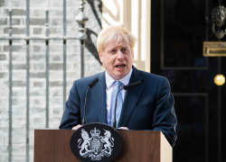 Boris Johnson, delivers a speech outside 10 Downing Street.