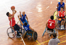 men's wheelchair basketball match between Malaysia (red) and Philippines (blue)