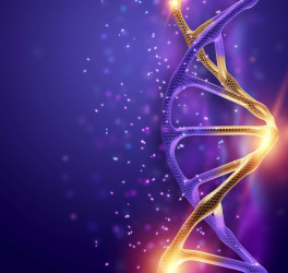 Dna structure, golden dna molecule on violet background