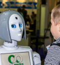 lively and interesting conversation between a child and a robot