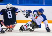 Paralympic games in South Korea. Sled hockey, Italy Vs USA
