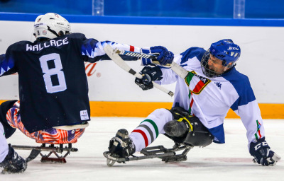 Paralympic games in South Korea. Sled hockey, Italy Vs USA