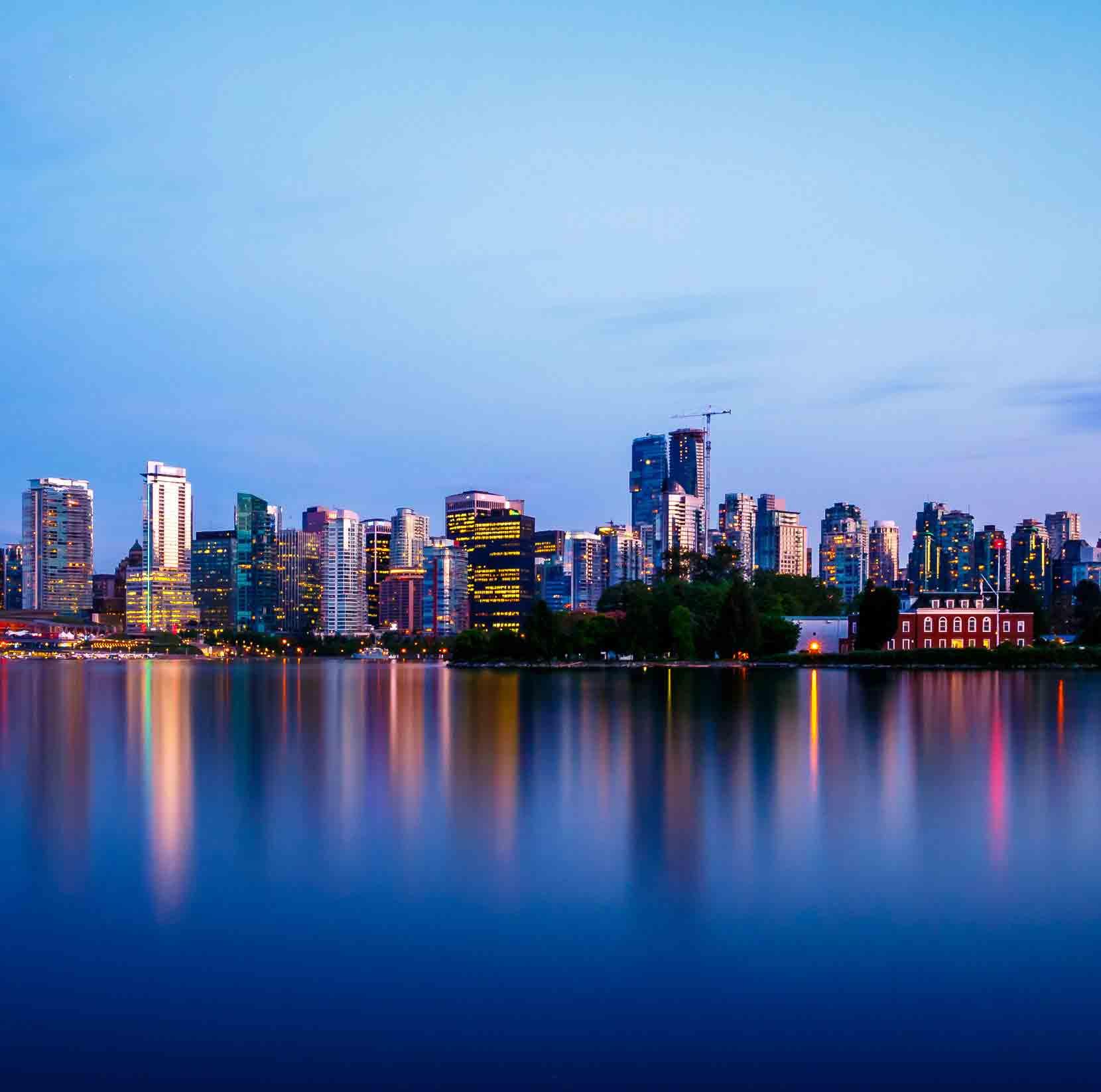 vancouver city skyline at dusk