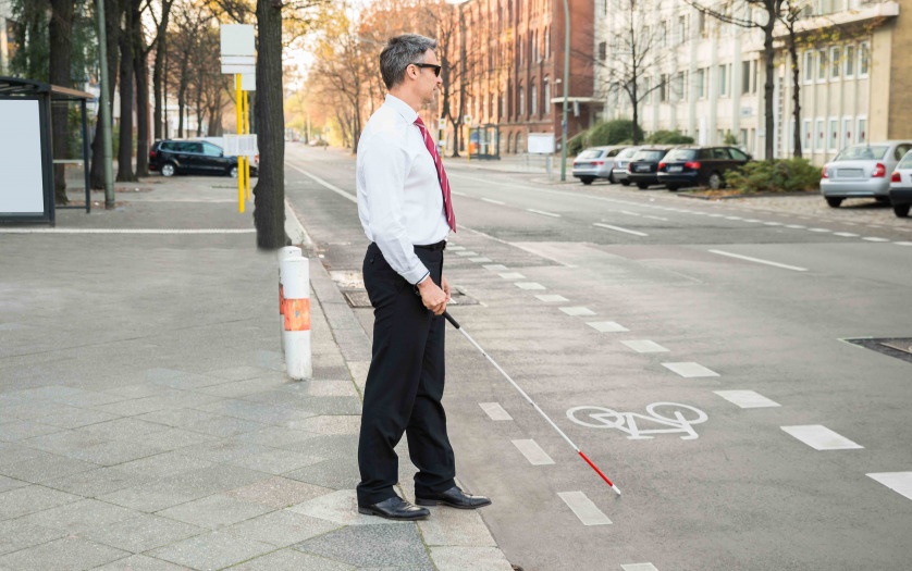 Blind Man Crossing Road Holding white cane
