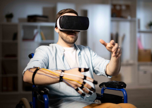 Man in wheelchair in virtual world