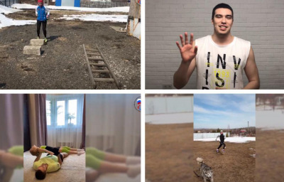 Russian Para athletes Maria Galkina (top left), Timur Reuf, Aleksander Alyabiev (bottom left) and Anna Kulinich-Sorokina share their home workouts during the coronavirus pandemic