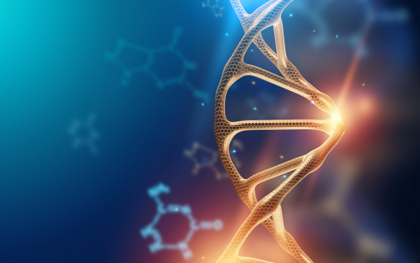 Creative background, dna structure, dna molecule on a blue background