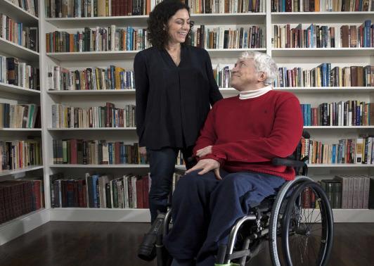 Lisa Schur and Douglas Kruse in wheelchair