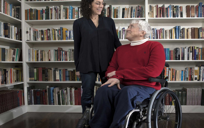 Lisa Schur and Douglas Kruse in wheelchair