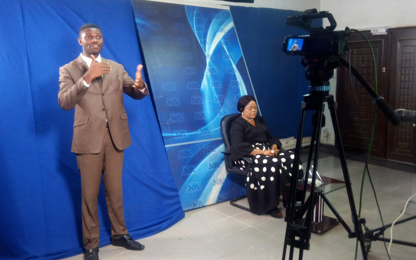 Sign language interpreter in Nigerian TV