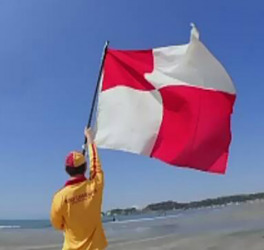 Red and White Tsunami alert flag