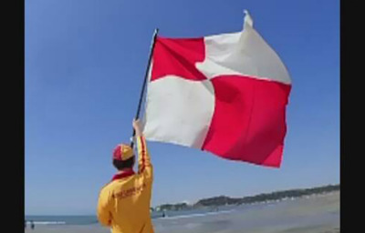 Red and White Tsunami alert flag