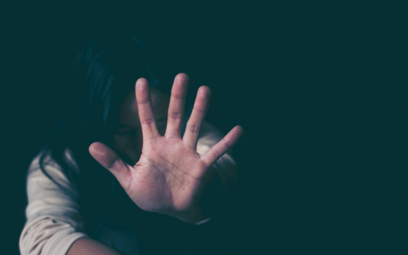 Stop sexual violence against women, woman hand