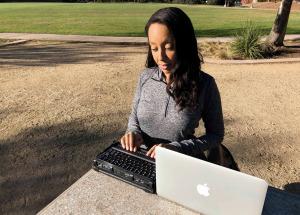 Haben Girma working outdoors