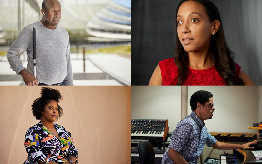 Arranged in a grid, four portraits featuring, clockwise from top left, Dean Hudson, Haben Girma, Matthew Whitaker, and Tatiana Lee