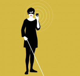 blind woman using smartphone vector