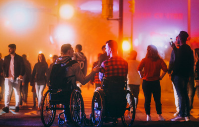 Young men in wheelchairs