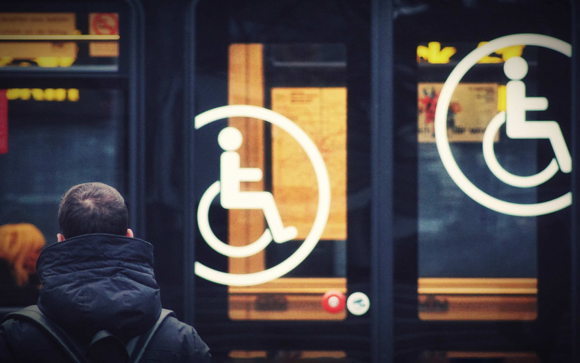 Public transport with Accessibility Sign