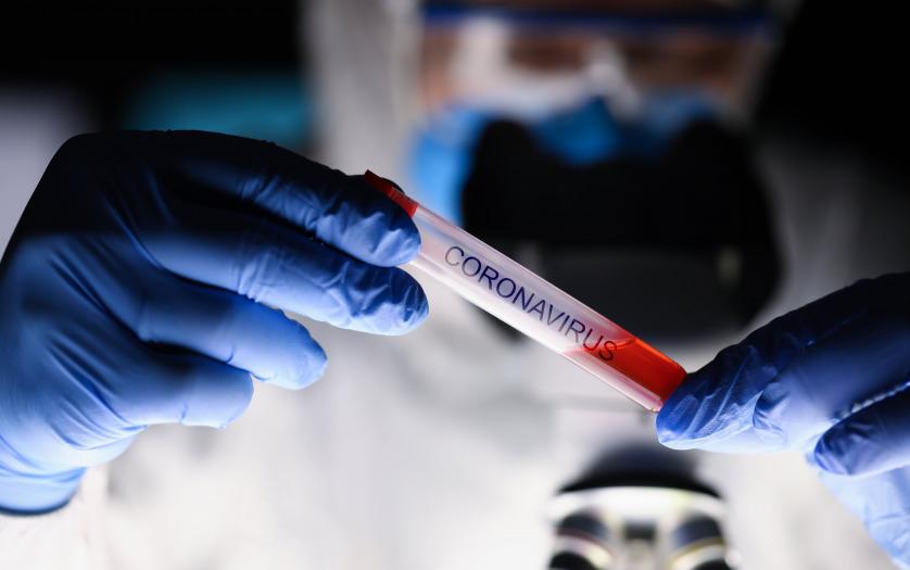 Male chemist hand in blue protective gloves, coronavirus test
