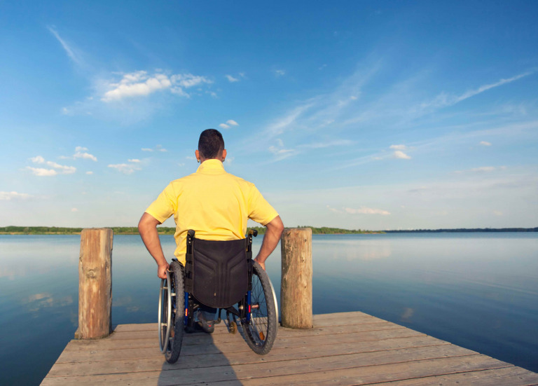 man in a wheelchair watching the sea in summer