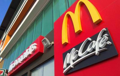 close up McDonald's logo sign