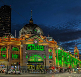 Flinders Street station during Melbourne lockdown