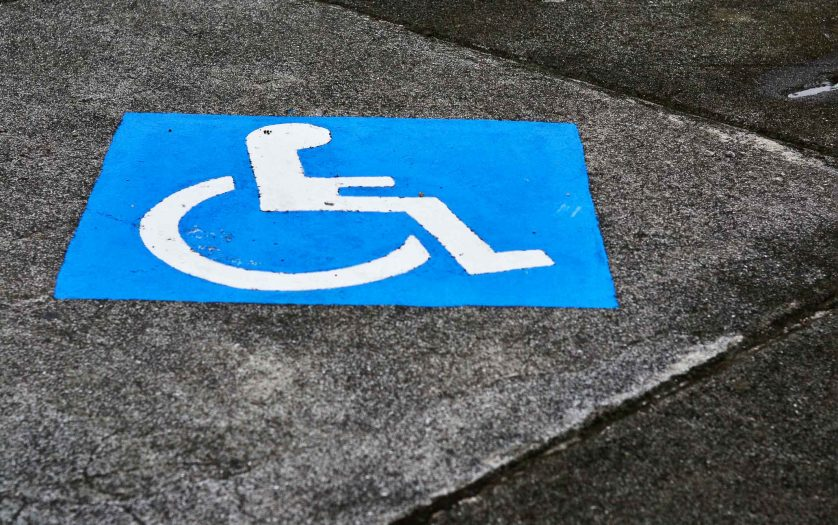 Close-up of accessibility sign