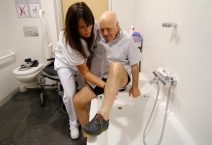 Patients who have suffered a stroke perform recovery activities with the help of nurses in the recovery program of the General Hospital