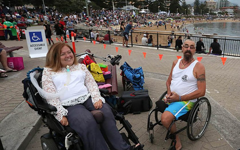 Wheelchair users attending Australia Day