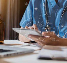 Doctor work on digital tablet healthcare doctor technology tablet using computer.