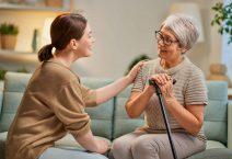 Elderly patient and caregiver spending time together