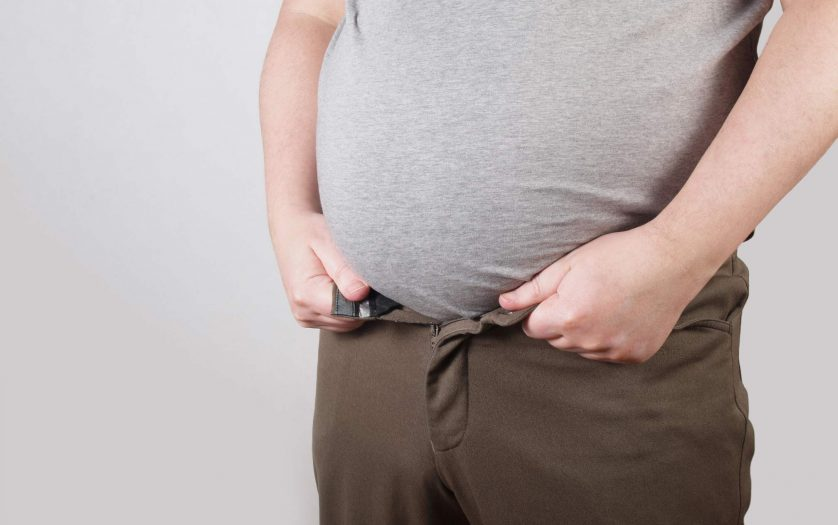 obese man with fat belly