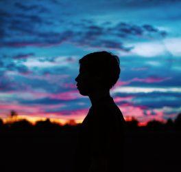 Silhouette of a walking woman
