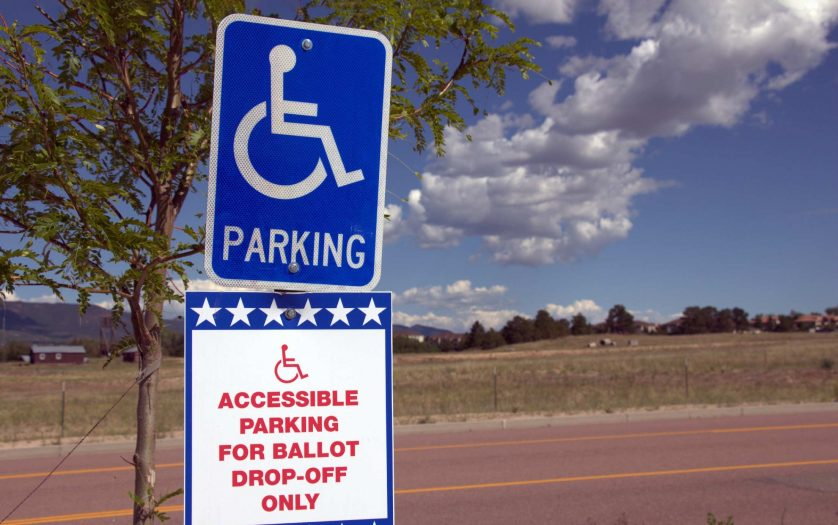 Ballot Box Sign for Election - All Mail-In Voting With Wheelchair Handicap Accessible Parking