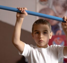 boy with CP during a rehab session