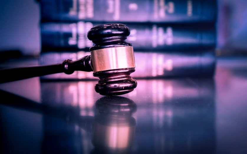 Legal law concept image, gavel on book