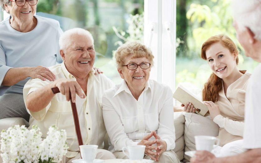 Senior people spends time together