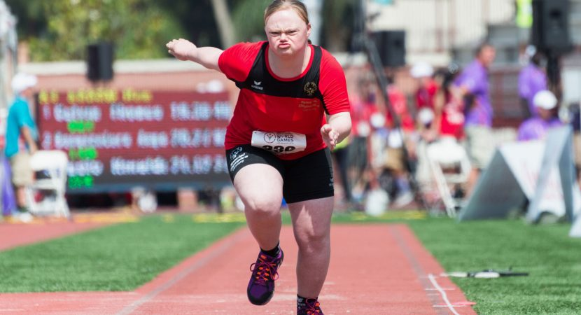 Agnes Wessalowski of Germany competes in long jumping at the Special Olympics World Games