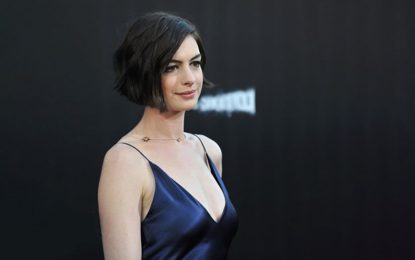 Anne Hathaway at the Los Angeles premiere of her movie Interstellar at the TCL Chinese Theatre, Hollywood.