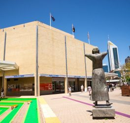 Art Gallery WA building entrance in Perth City centre, Western Australia