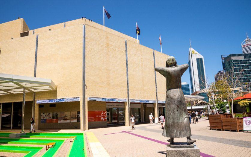 Art Gallery WA building entrance in Perth City centre, Western Australia
